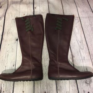 Camper Tall Brown Boots Zipper Laces Spain Leather